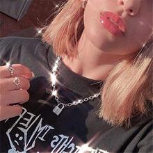 Cadena Punk Color dorado/plateado con collar de bloqueo para mujeres y hombres colgante collar con candado 2019 joyería de declaración Moda Gótica