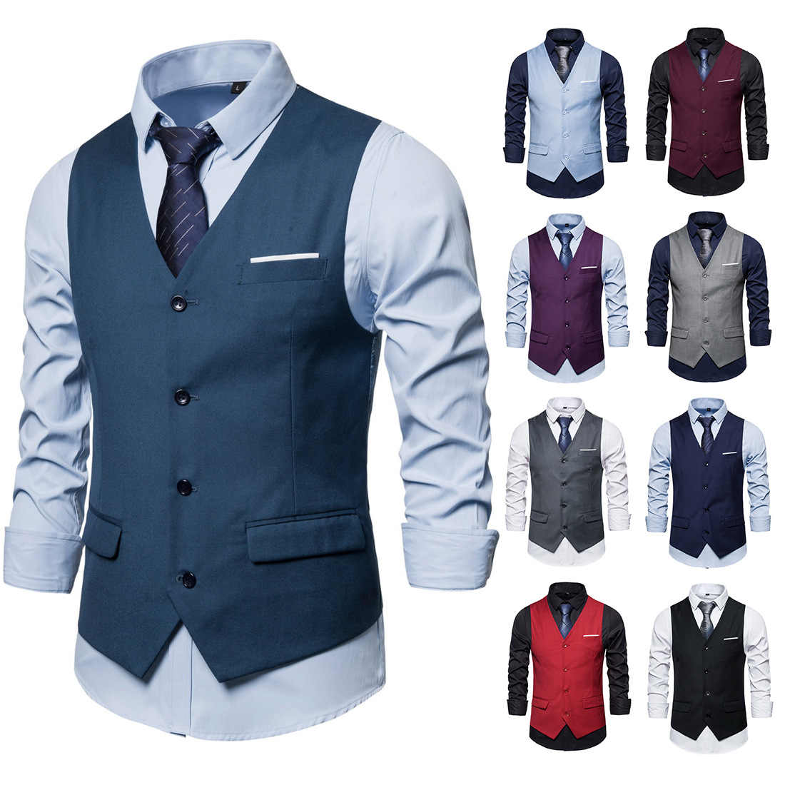 Spring 2020 Business Casual Men Slim Vest