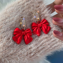 Cor preta vermelha bowknot balançar brincos para menina coreano doce moda feminina jóias de cristal brilhante zircônia na moda brincos