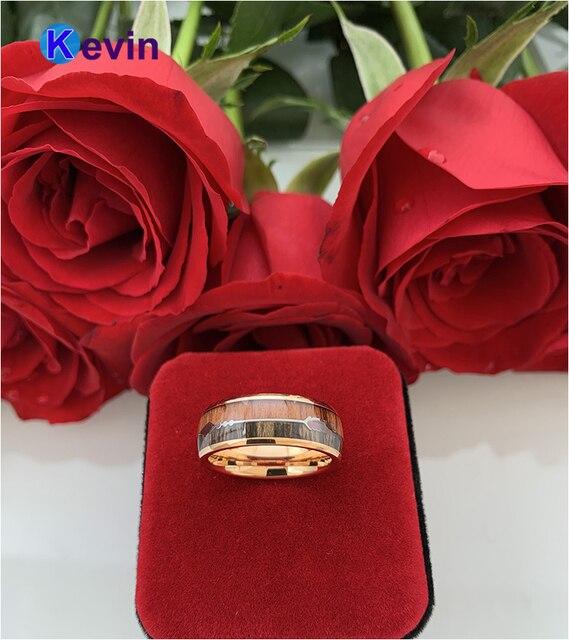 обручальное кольцо из вольфрама цвета розового золота для мужчин фотография