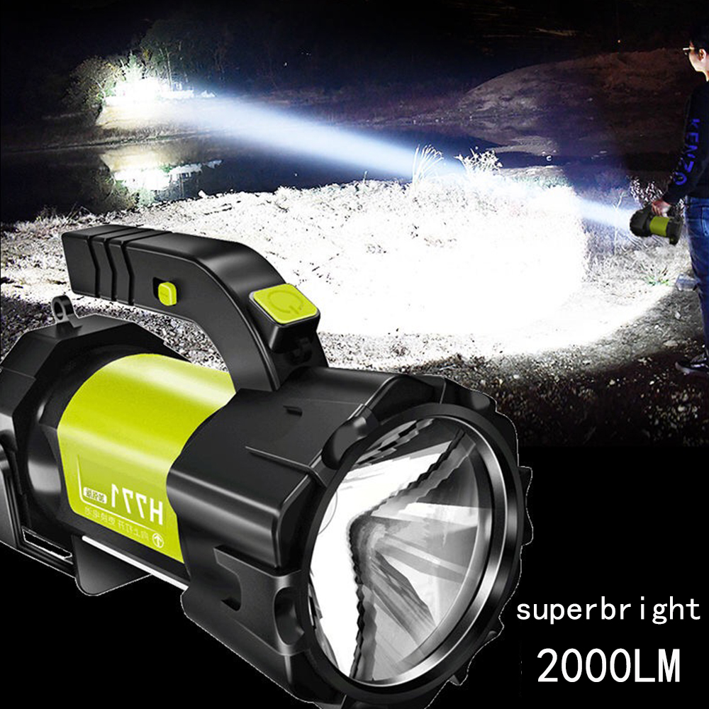 Super Bright LED Searchlight Flashlight With Side Light 7 Lighting Modes Usb Rechargeable Waterproof Camping Flashlight