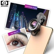 Apexel hd 2in1 10x super macro & lente de ângulo de 120 graus para o telefone móvel fotografia para iphone xiaomi samsung todos os smartphones