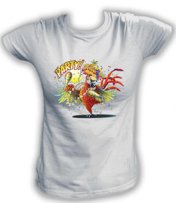 Dames T-shirt 17866-Papegaai-Party! Papegaai Goede Party Fan Grappige Alcohol Bier