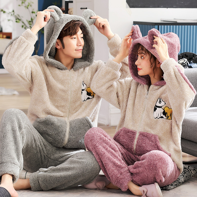 Coral Couple Pyjamas Home Wear Set Autumn Winter Spring And Autumn Men's Heavy Warm Flannel Women Full Cartoon Polyester Regular
