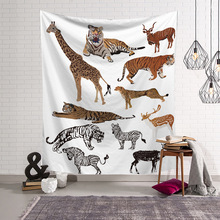 Nordic Style Wall Hanging Tapestry Dinosaur Animals Printed Polyester Cloth Tapestries Home Art Decor Shawl Blanket Mat