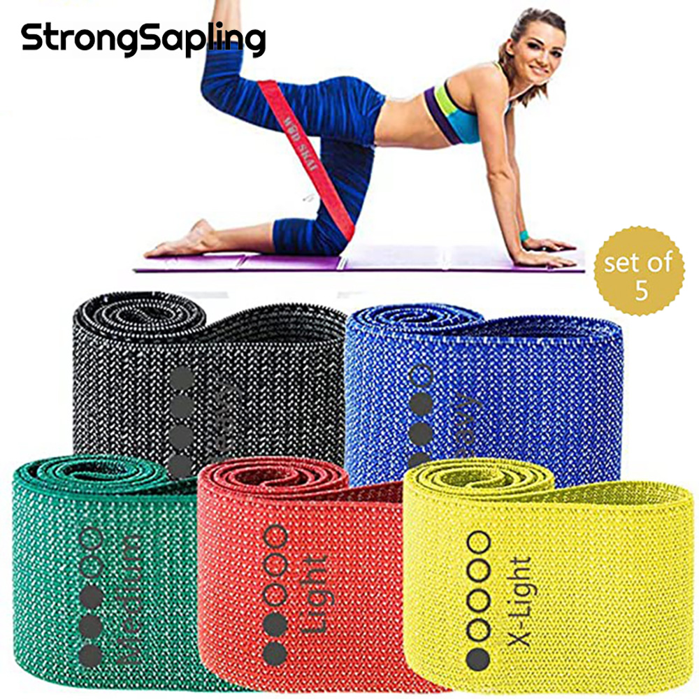 Комплект эспандеров 5 цветов, эластичные ленты для йоги и фитнеса, для тренировок, для бедер и бедер, для спортзала и тренировок
