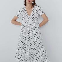 Long Polka Dot Dress Women White V-neck Straight Pleated Cotton Summer Sweet Dresses For Girls