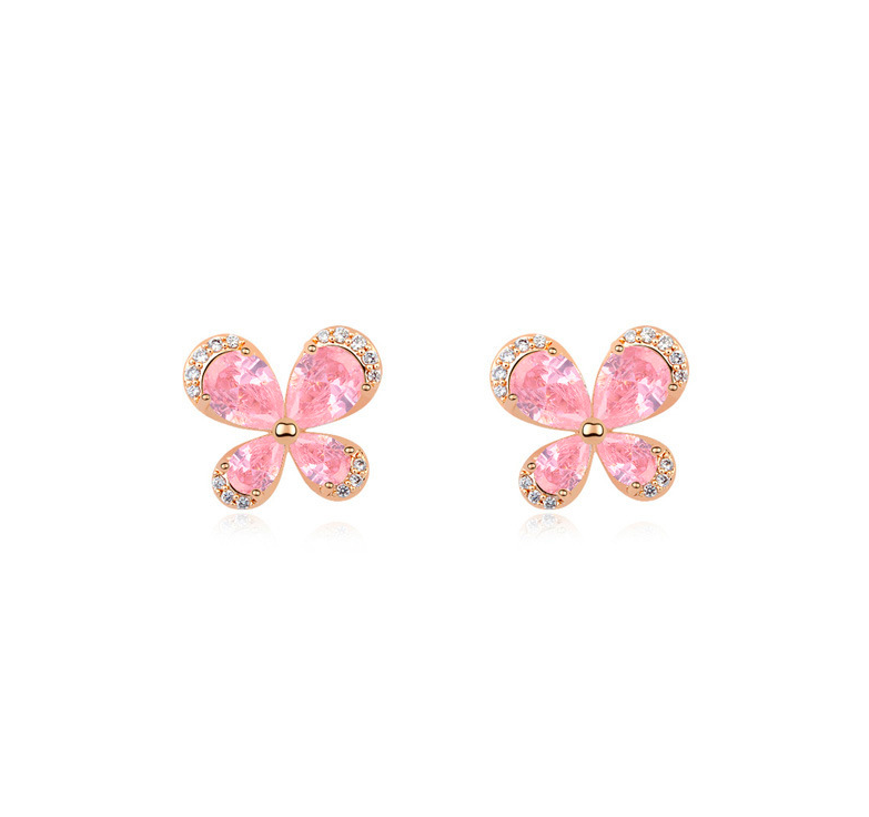Pink CZ Crystal Butterfly Design Earring Studs Color Elegant Fashion Women Jewelry Girl Gifts