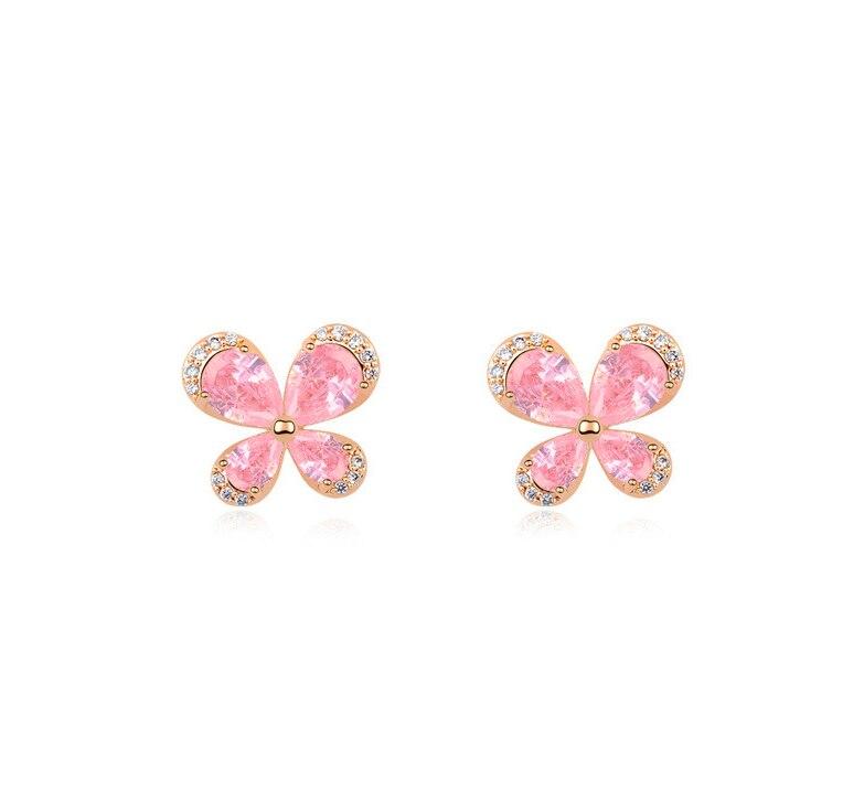 Rose CZ cristal papillon conception boucle d'oreille goujons couleur élégante mode femmes bijoux fille cadeaux