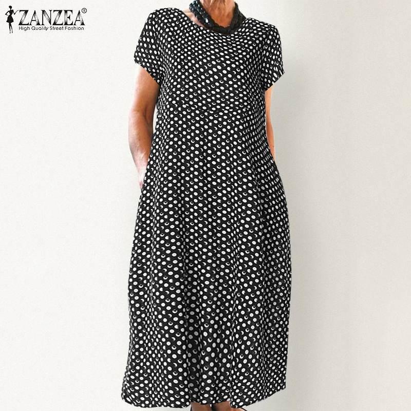 ZANZEA Women Summer Polka Dot Printed Dress Elegant Office Work Vestido Casual Vintage Short Sleeve Party Sundress Robe Femme