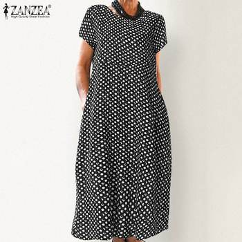 цена на ZANZEA Women Summer Polka Dot Printed Dress Elegant Office Work Vestido Casual Vintage Short Sleeve Party Sundress Robe Femme
