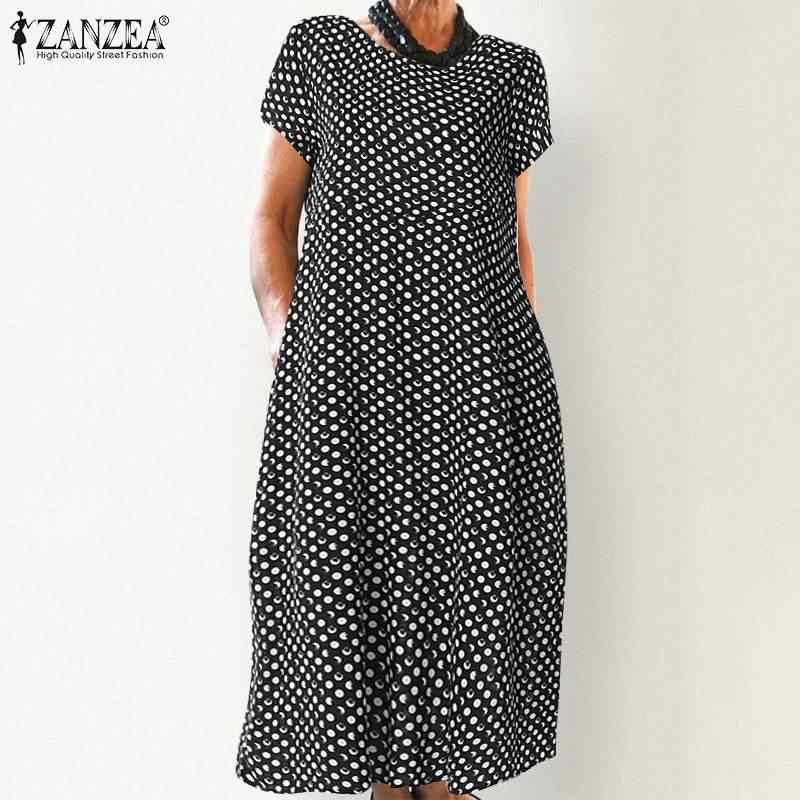 ZANZEA femmes été à pois imprimé Robe élégant bureau travail Vestido décontracté Vintage à manches courtes fête Robe d'été Robe Femme