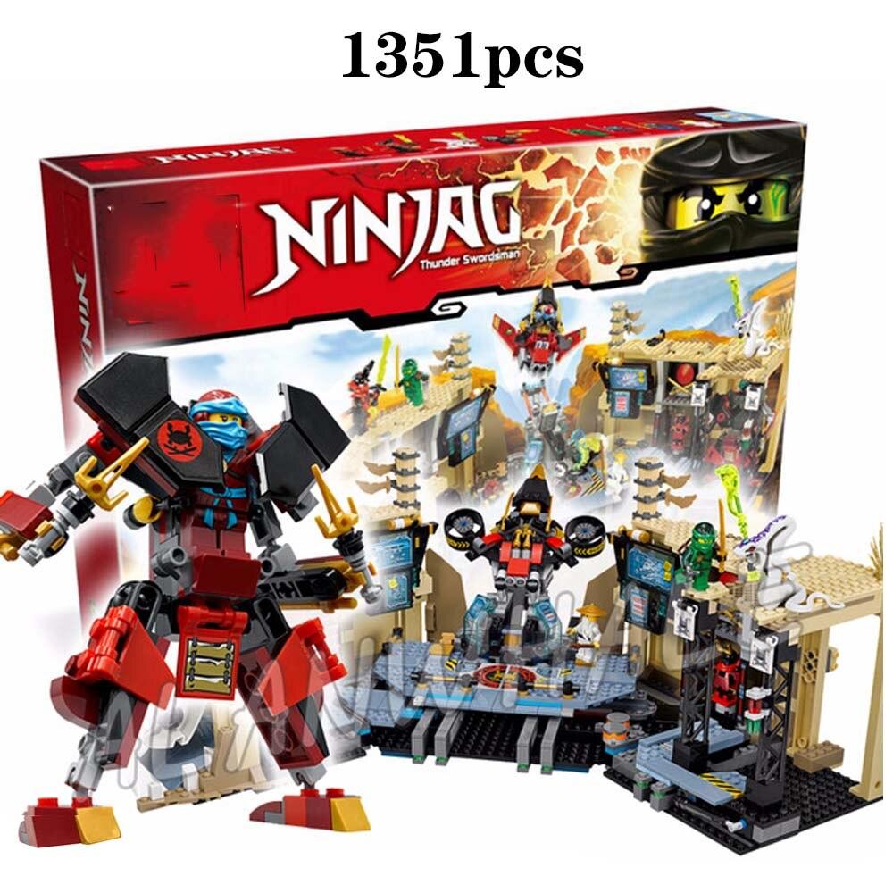 1351pcs Ninja Samurai X Cave Chaos Mech Robot Base Armor Compatible Legoingly Ninjagoing 70596 Building Blocks For Kids Gift