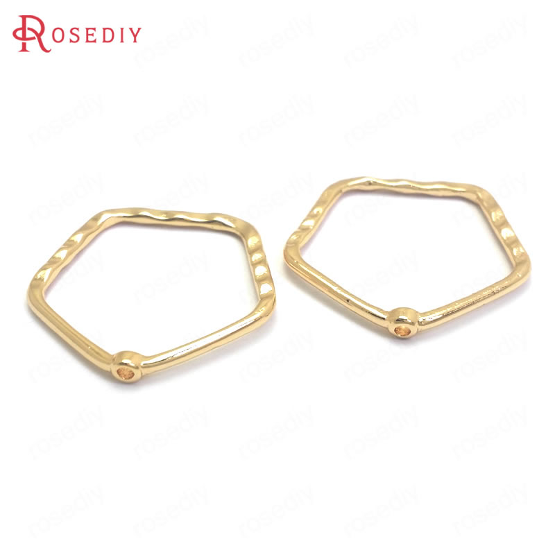 (37185)10PCS 23x22.5MM 24K Gold Color Brass Polygon Shape Earrings Connect Charms Pendants Jewelry Making Supplies Accessories