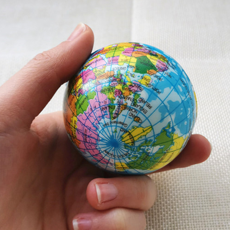 Global Earth Ball Soft Anti Stress World Map Planet Balls Children Foam Sponge Squeeze Balls Toys for Kids Wholesale/Custom Logo