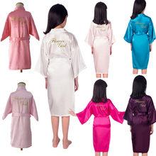 Atacado link flor menina robe ouro glitter crianças cetim kimono de seda cor sólida crianças pijamas para festa de casamento spa