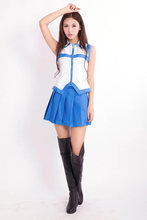 Anime Fairy Tail Cosplay Women Girl School Uniforms Fantasia Lucy Heartfilia Costume Tops + Skirt(China)