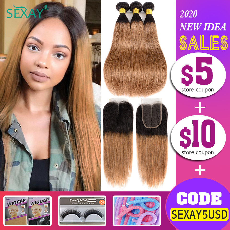 SEXAY 1B/30 Brown Hair Bundles With Closure Two Tone Ombre Blonde Brazillian Straight Human Hair Weave 2/3 Bundles With Closure