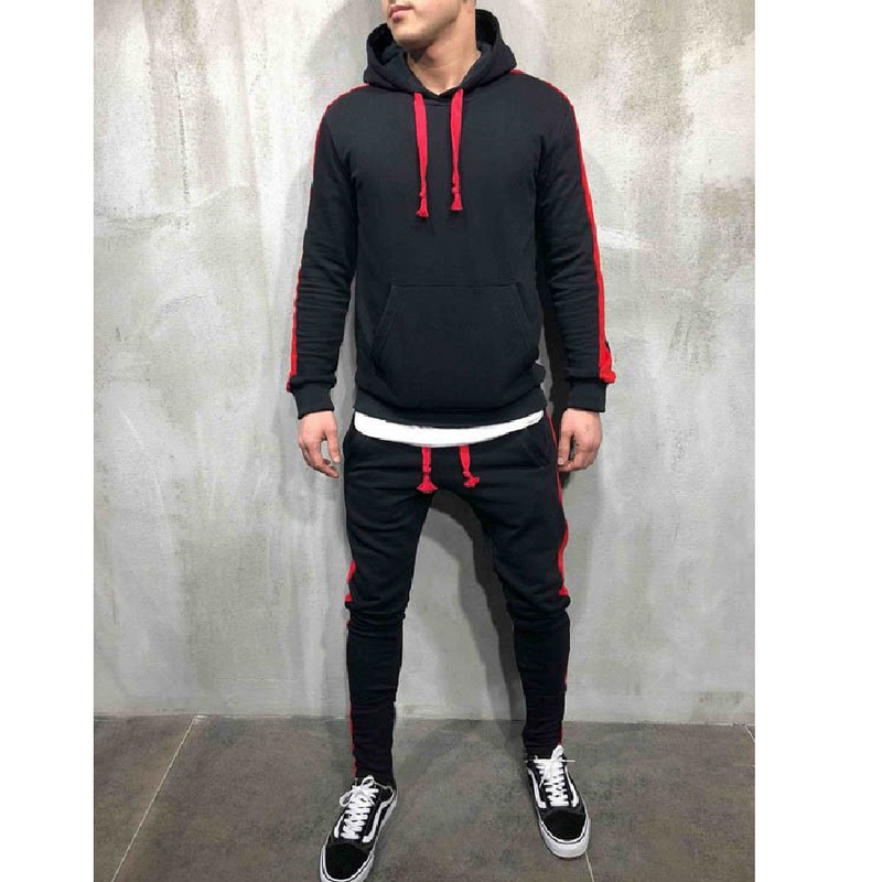Men's Long Sleeve Fitness Muscle Brothers Men Gym Spelling Hooded Jogging Outdoor Sports Set Sport Running Suit