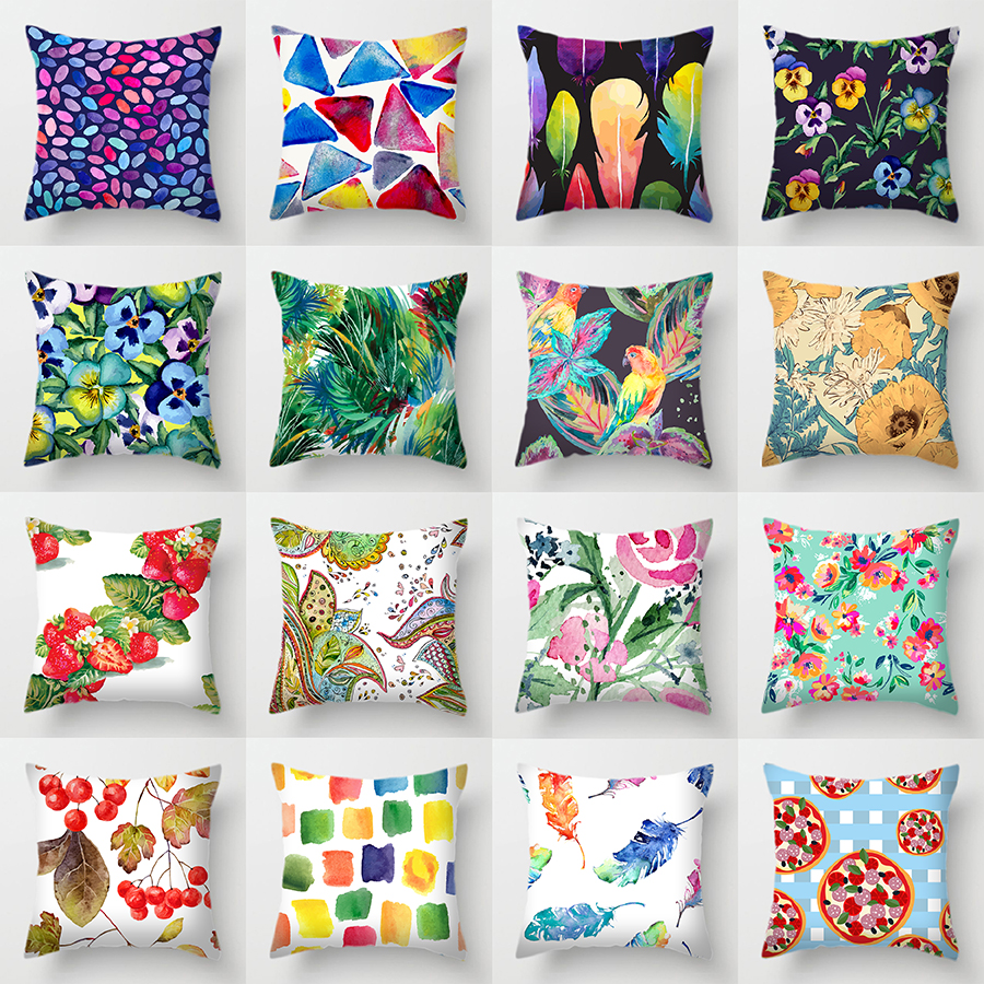 Single-sided Printing Polyester Cushion Cover Flowers Rainbow Tropical Plants Parrot Bird Feather Decorative Green Pillow Case