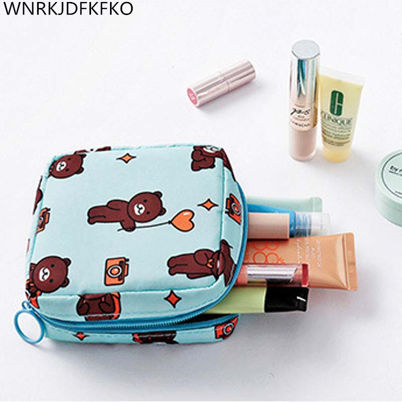 Cosmetic Bag Waterproof Double Layer Portable Sanitary Napkin Bag Beauty Portable Toiletry Bag Mini Handbag Makeup Pouch Makeup