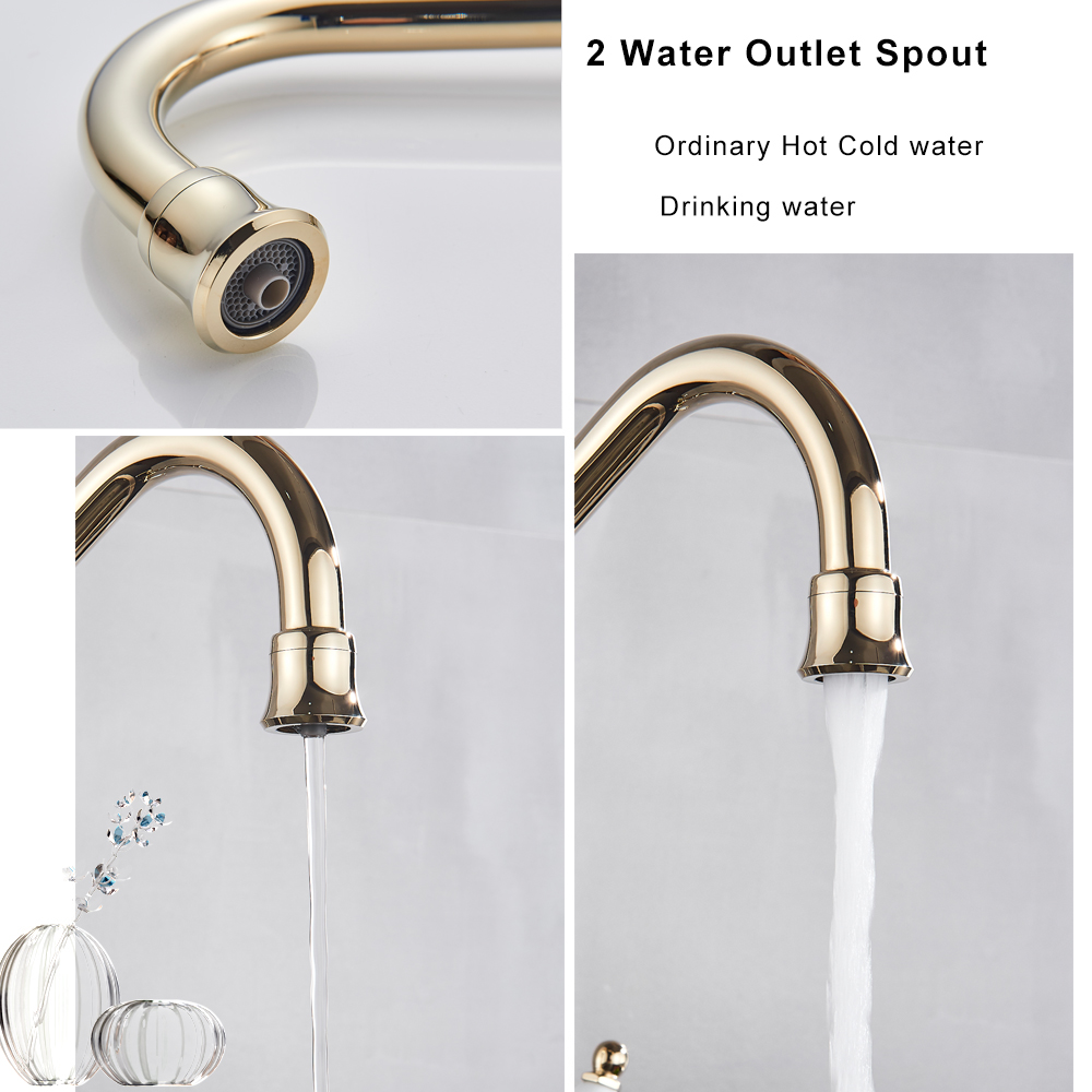 2 Way Spout Golden Drinking Water Purifier Faucet Swivel Kitchen Sink  Mixer Tap