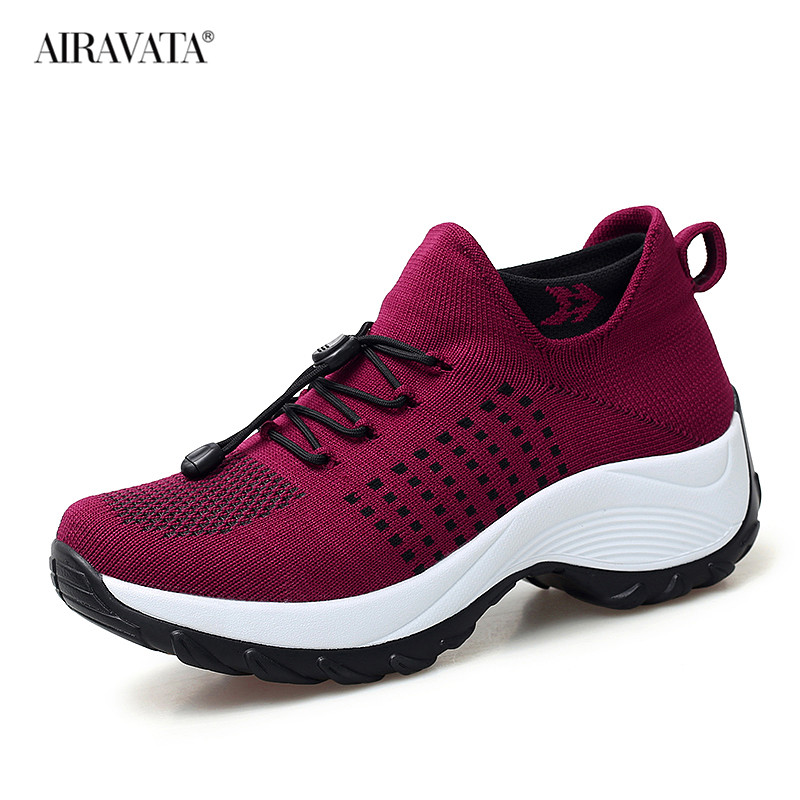 Red-Women Casual Shake Sneakers Breathable Platform Walking Shoes