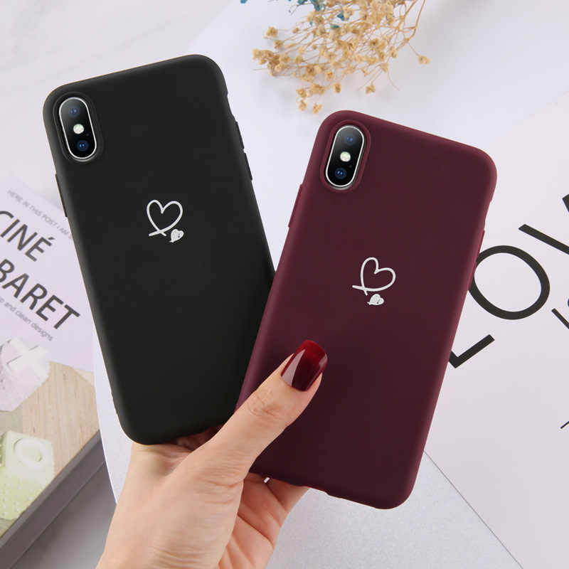 Ottwn per iPhone 11 Pro Max XS Max XR X 8 7 6 6s Plus Love Heart coppie custodia Candy Color per iPhone 5 5s SE custodia morbida in Silicone