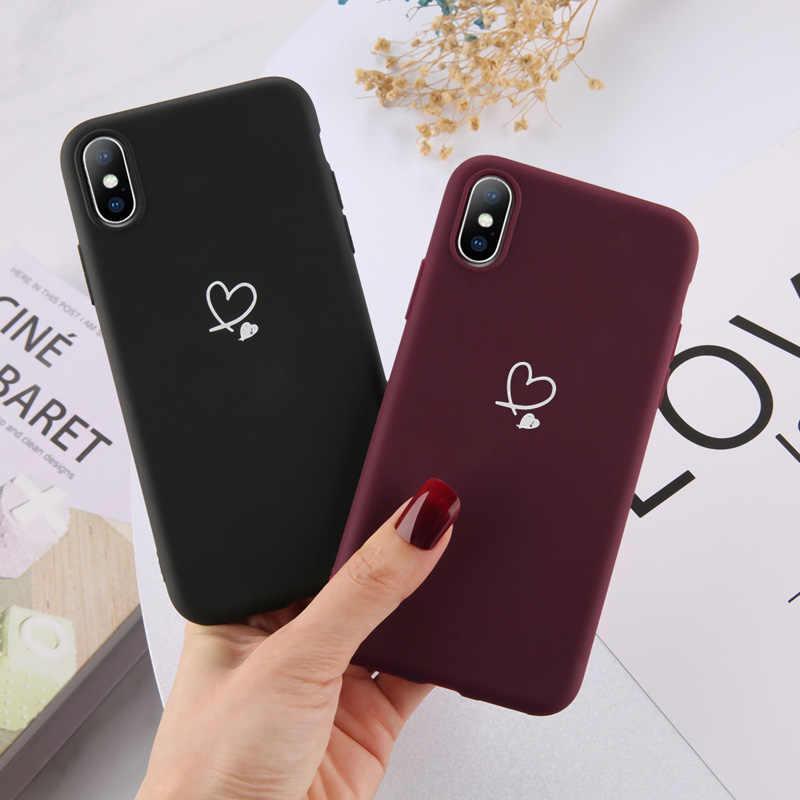 Ottwn pour iPhone 11 Pro Max XS Max XR X 8 7 6 6s Plus amour coeur Couples étui couleur bonbon pour iPhone 5 5s SE couverture en Silicone souple