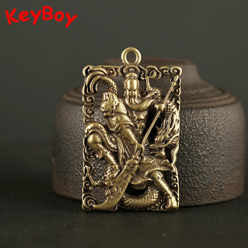 Copper Chinese God Of Wealth And Military Guan Gong Tag Key Chain Ring Pendant Jewelry Men Vintage Keyrings Charm Lucky Keychain