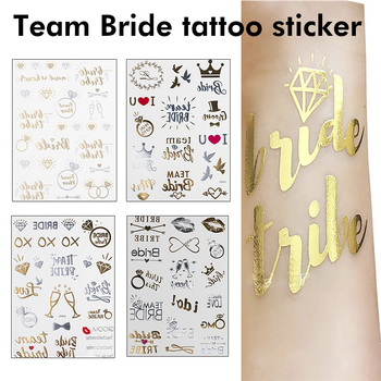 Team bride tribe Flash Temporary Tattoo Gold silver Metallic arrow Love bachelorette party Bridesmaid shower wedding decoration 2