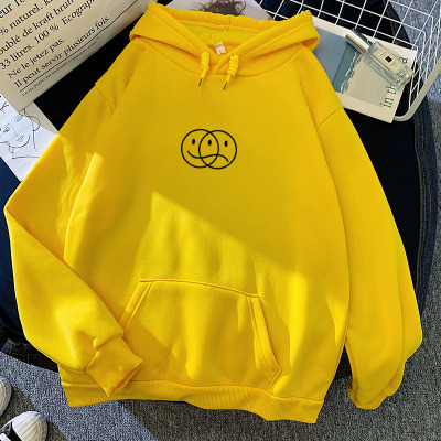Korean Streetwear Sweatshirt Men Women Casual Pullover Hip Hop Long Sleeve Smile Sad Face Line Print Sport swear Tops Hoodies 14