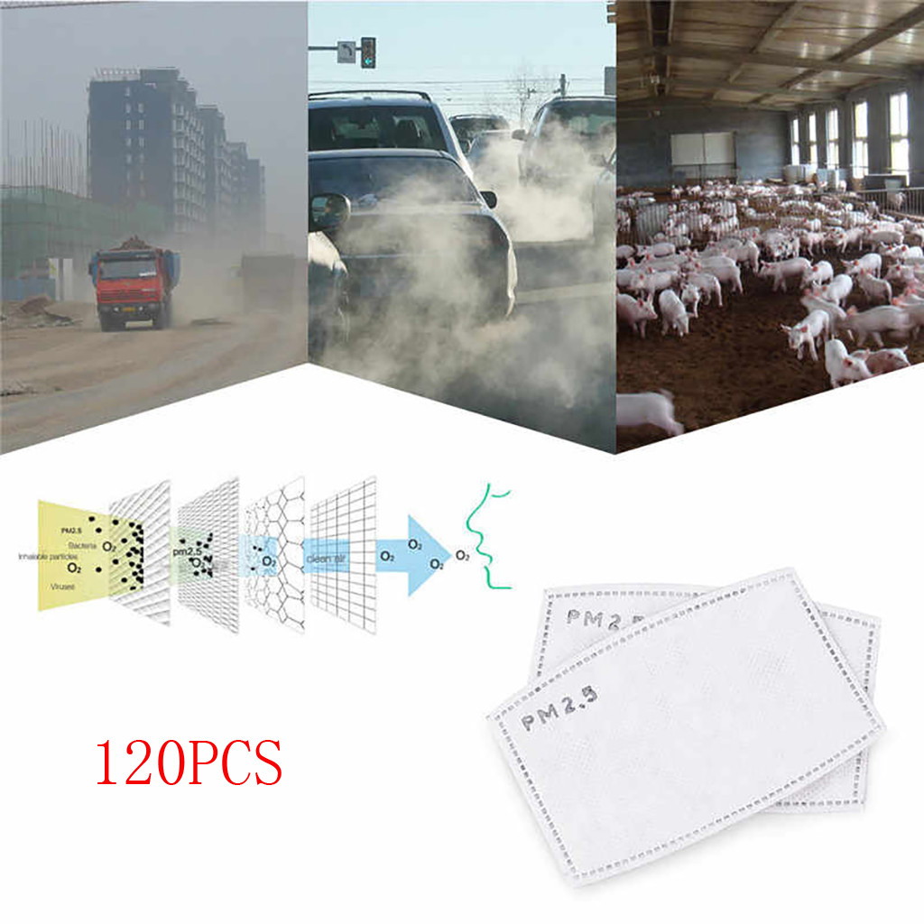 2-120 Pcs PM 2.5 Mask Filter Anti Haze 5 Layers Mask Activated Carbon Filter Replaceable For Adults Mouth Mask Health Care