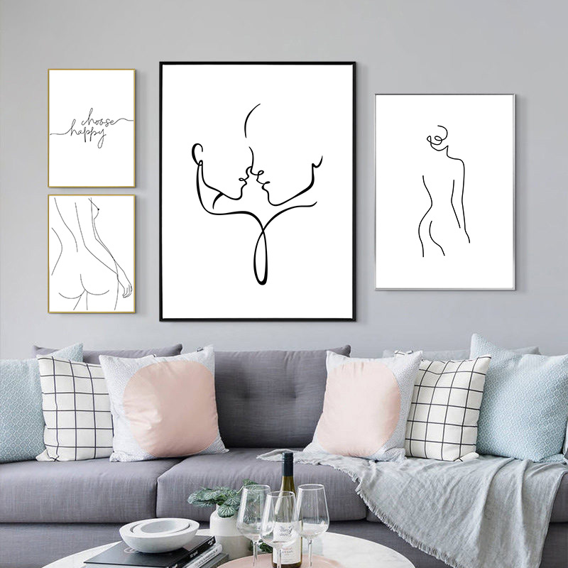 Modern Abstract Art Picture Home Decor Nordic Canvas Painting Wall Art Figure Line Drawing Posters and Prints for Living Room