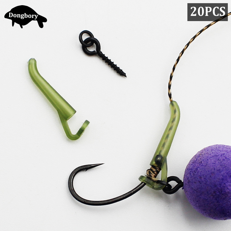 20PCS Carp Fishing Accessories Kit  Bait Screw With Ring D Rig Line Aligner Rubber Sleeve For Carp Fishing Rig Making End Tackle