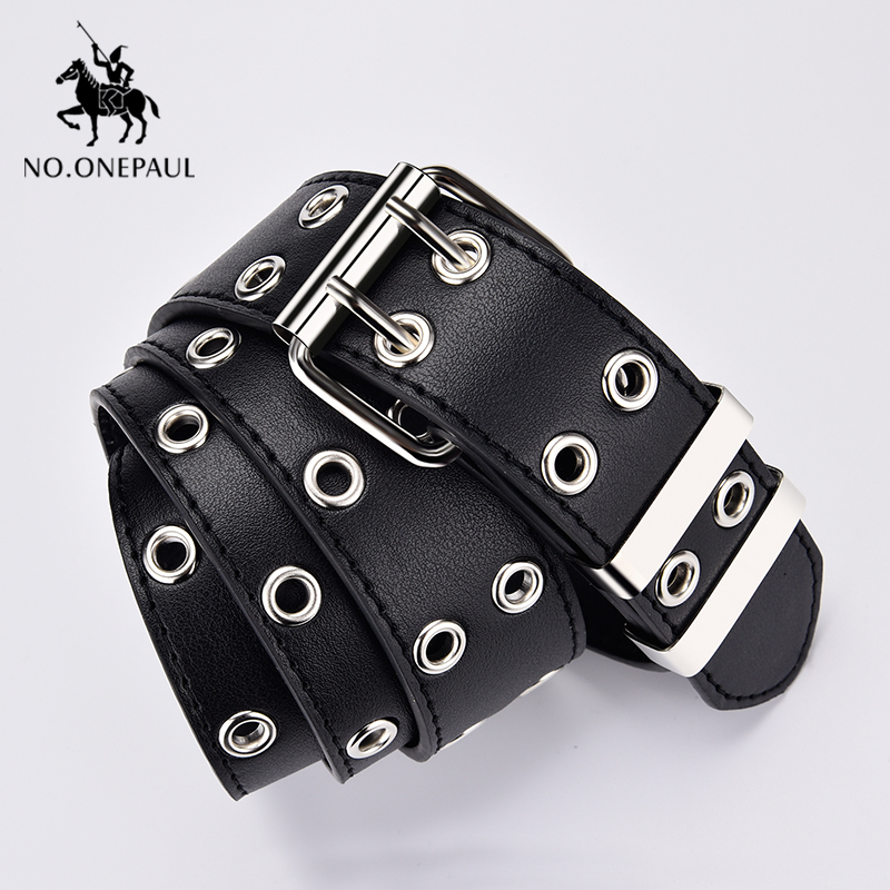 NO.ONEPAUL Women Belt Chain Buckle Jeans Decorative-Belt Pin Punk-Style Genuine-Leather