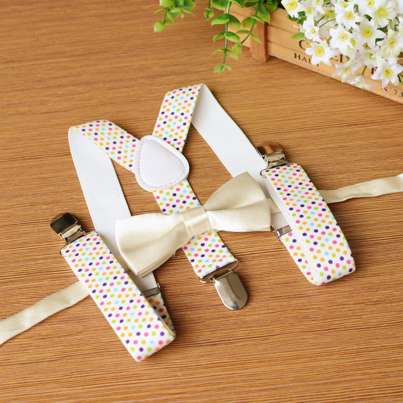 Fashion Print Dots Kids Suspenders Set Baby Boys Girls Suspenders Clip-on Y-Back Braces Suspenders Bow Tie Set