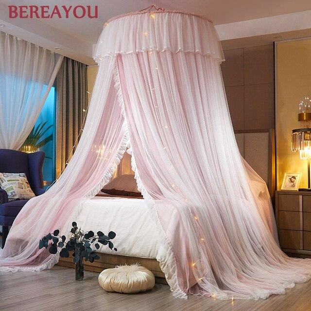 جولة البعوض صافي طبقة مزدوجة الغزل الأميرة البعوض صافي ل نموسية للسرير طفل الفراش سرير بيبي الستار غرفة ديكو سرير فاخر خيمة 1