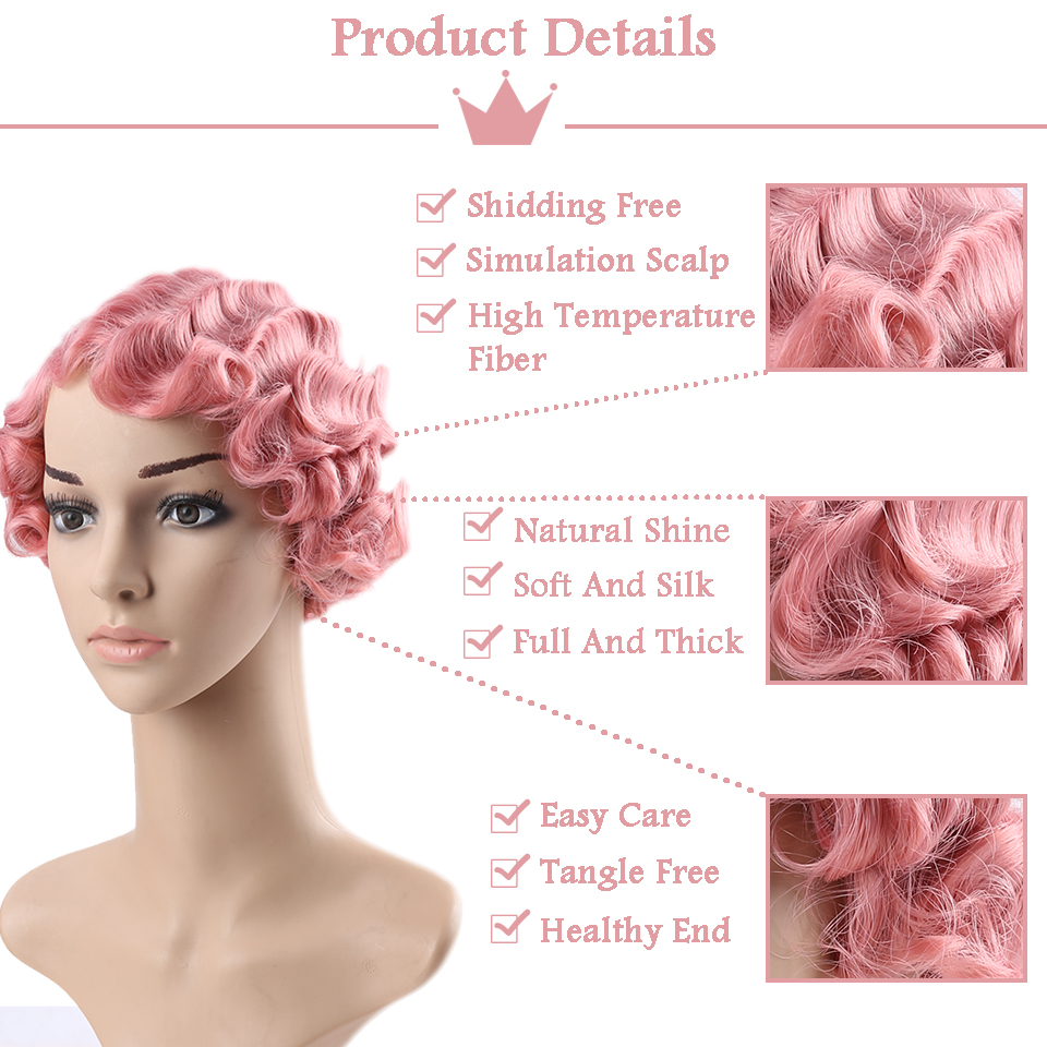 JINKAILI Short Pixie Blonde Wig Figer Wave Curly Synthetic Wigs for Black Women African American Fake Hair Heat Resistant in Synthetic None Lace Wigs from Hair Extensions Wigs
