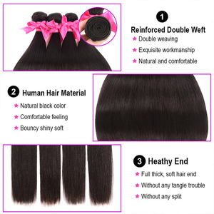 Image 5 - Peruvian Straight Hair Bundles With Frontal Miss Cara 100% Remy Human Hair 3/4 Bundles With Closure 13*4 Frontal With Bundles