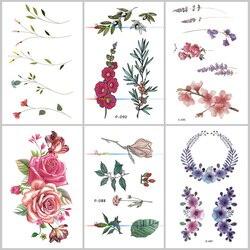 Wyuen, цветок розы, водостойкая временная татуировка, наклейка для взрослых и детей, боди-арт, женский новый дизайн, переводная вода, поддельны...
