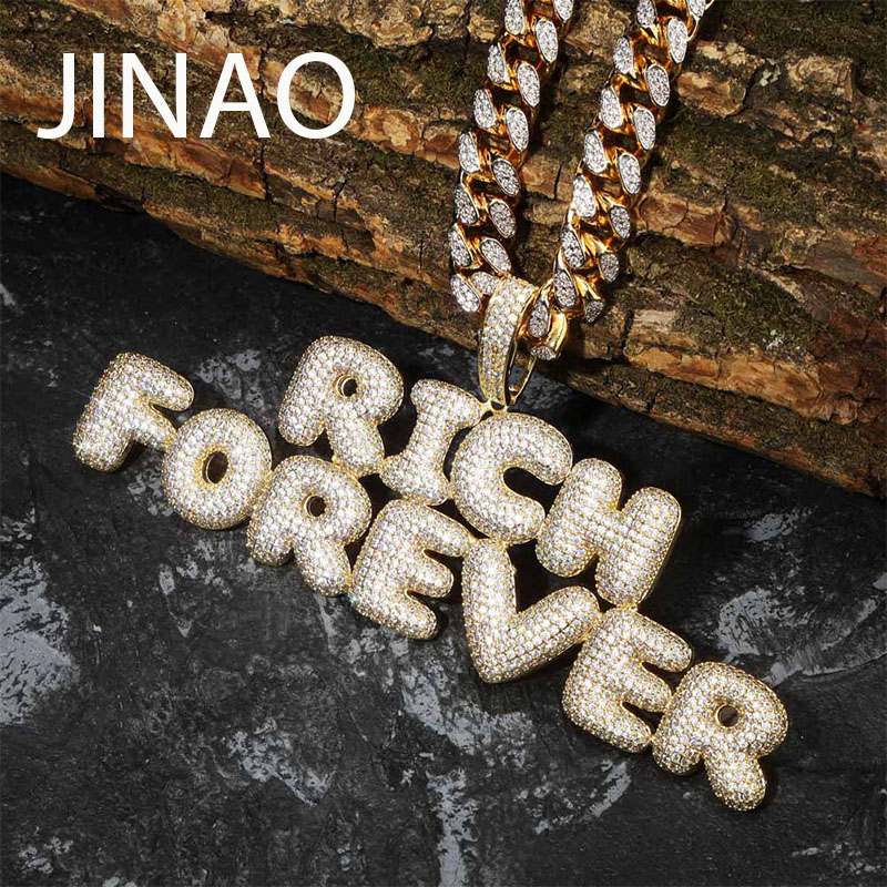 Custom Name Iced Out Bubble   Letters Chain Pendants Necklaces Men's Charms Zircon Hip Hop Jewelry With Tennis Chain