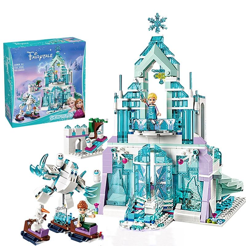 2 стиля Дисней Холодное сердце Эльза волшебный ледяной замок набор принцесса Анна штабелирование строительные блоки кирпичи Игрушка совме...