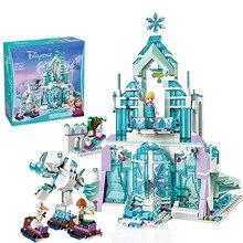 5 estilo congelado mundo de neve o elsa mágico castelo de gelo conjunto princesa anna empilhamento blocos de construção tijolos brinquedo compatível todos os marca