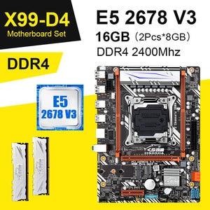 X99 D4 материнская плата комбо с Xeon E5 2678 V3 LGA2011-3 процессор 2шт X 8 ГБ = 16 Гб 2400 МГц DDR4 память