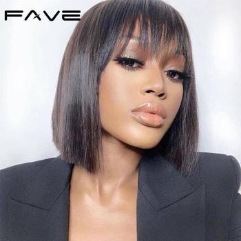 FAVE krótka fryzura Pixie peruki brazylijska peruka z prostymi włosami peruki z ludzkich włosów Bob peruki z frędzlami peruki z ludzkich włosów dla czarnych kobiet szybka wysyłka tanie i dobre opinie CN (pochodzenie) Remy włosy Proste Brazylijski włosy Średnia wielkość Średni brąz Ciemniejszy kolor tylko Swiss koronki