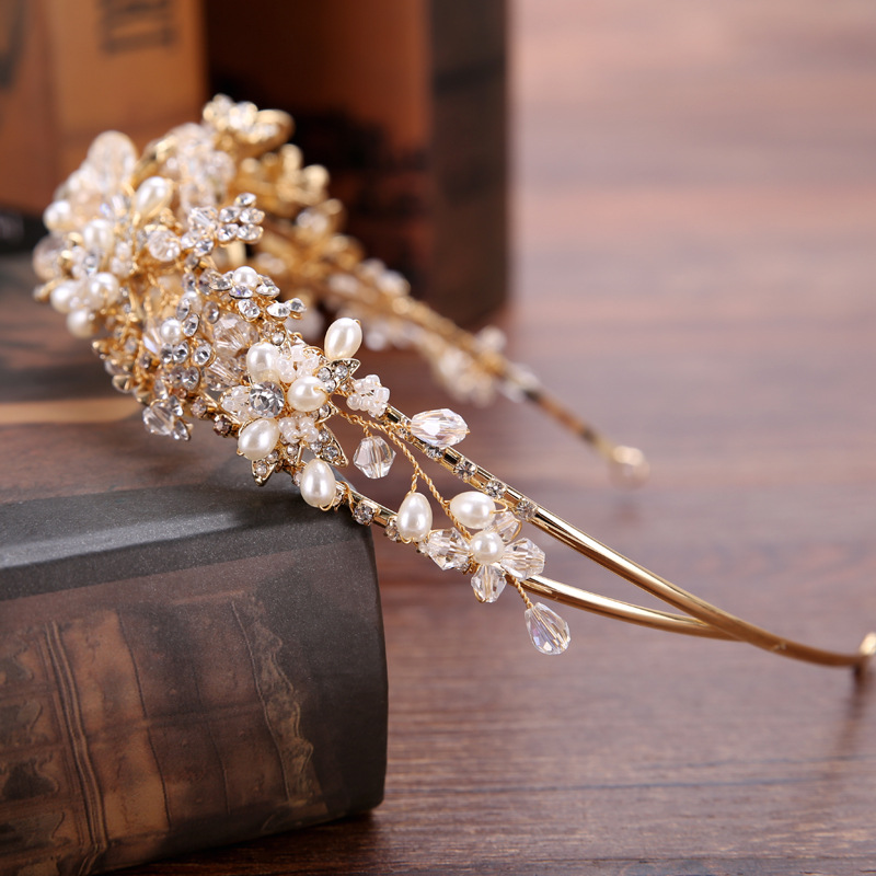 Bridal Tiara Headband Hot Sale Gold Flower Handmade Pearl Water Drill Bit Hair Band Bride Crown