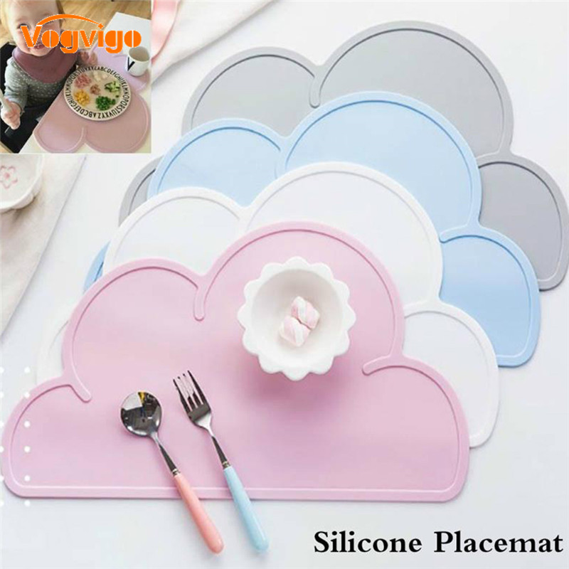 1 Pcs Cloud Shape Placemat Kids Plate Mat Food Grade Silicone Table Pad Waterproof Heat Insulation Kitchen Gadget Easy Cleaning|Cool Tool Surface Protectors| |  - title=