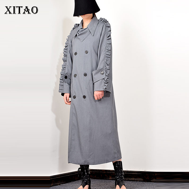 XITAO Fashion Double Breasted Trench Coat For Women Trend Lace Long Sleeves Loose Long Windbreaker Wild Spring Autumn New XJ3592