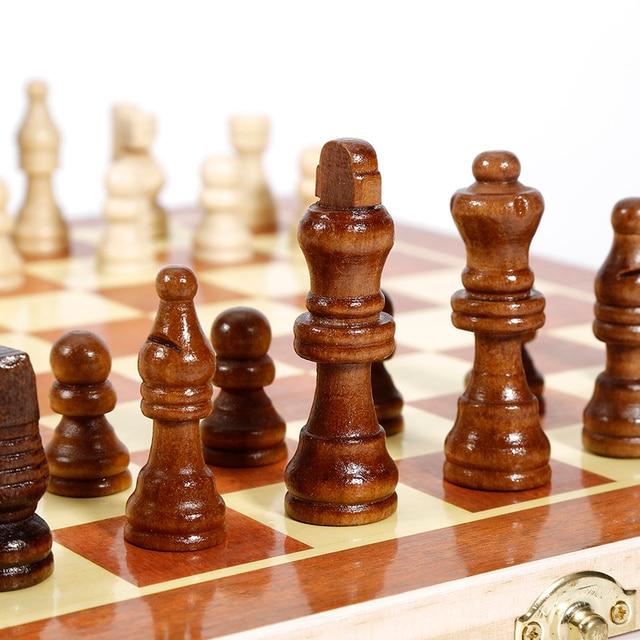 Pliant en bois International jeu d'échecs pièces ensemble jeu de société drôle jeu Chessmen Collection Portable conseil jeux de voyage 2